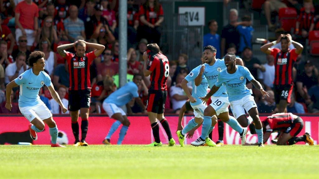 sterling-scores-bournemouth-celebration